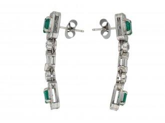 Art Deco emerald diamond drop earrings berganza hatton garden