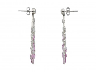 Edwardian Burmese pink sapphire diamond earrings hatton garden