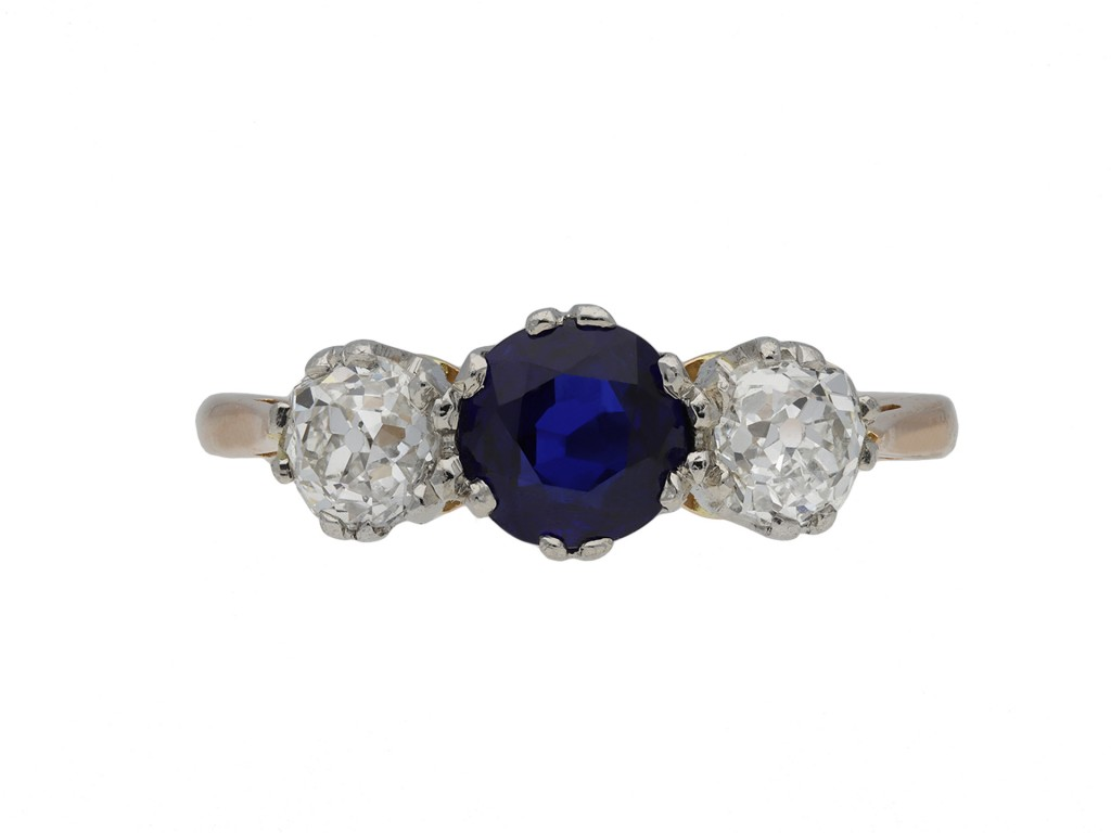 Burmese sapphire and diamond three stone ring hatton garden