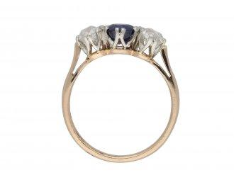 Burmese sapphire and diamond three stone ring hatton garden