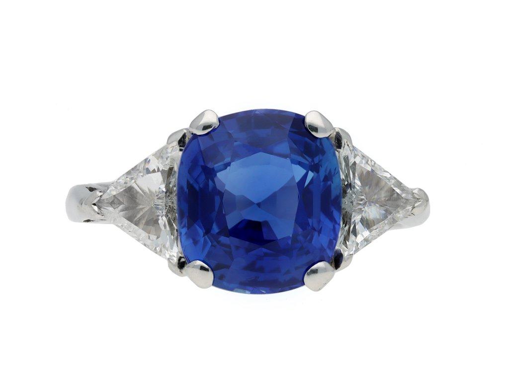 Vintage Ceylon sapphire and diamond ring Hatton garden