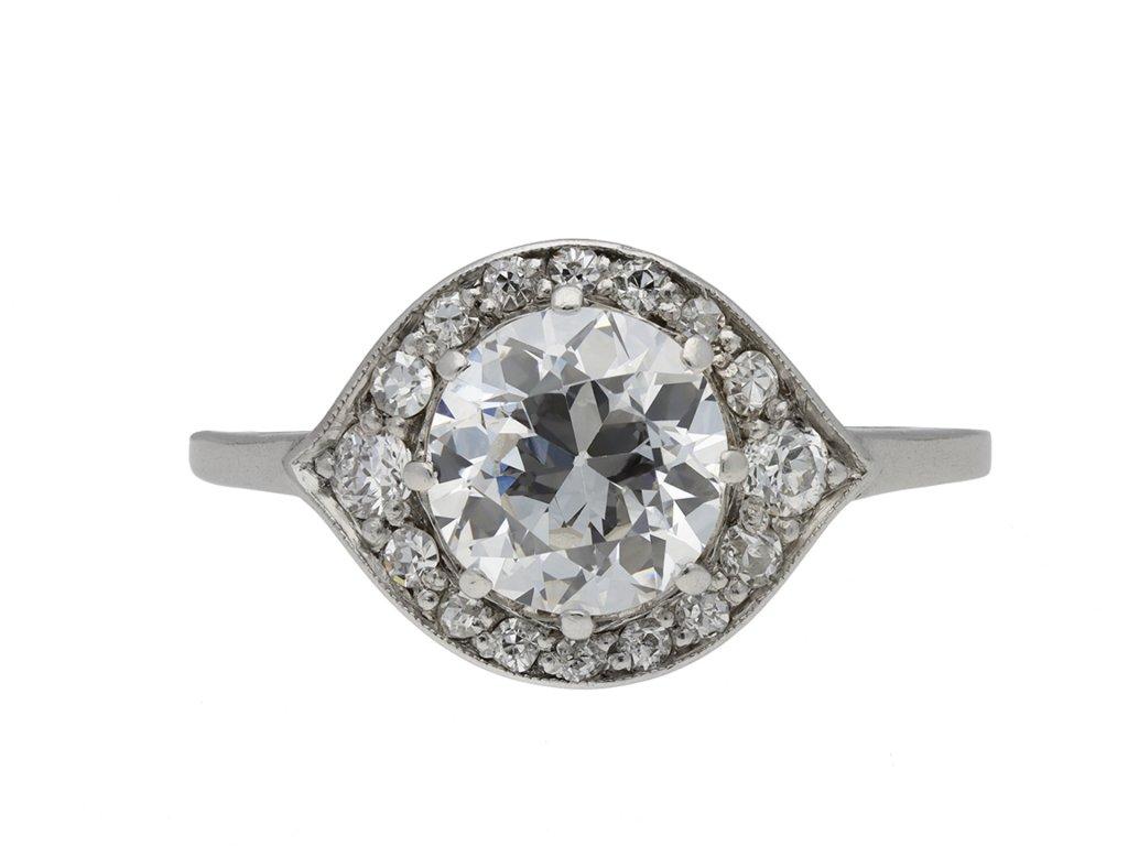Edwardian diamond cluster ring hatton garden