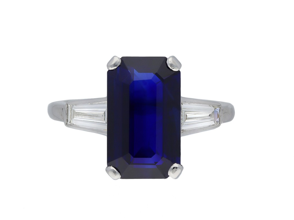 Sapphire and diamond flanked solitaire ring hatton garden