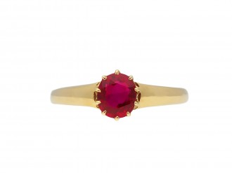 Victorian Burmese ruby solitaire ring hatton gardenVictorian Burmese ruby solitaire ring hatton garden