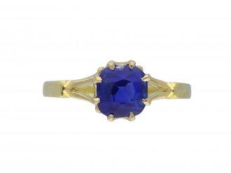 Edwardian Ceylon sapphire solitaire ring hatton garden