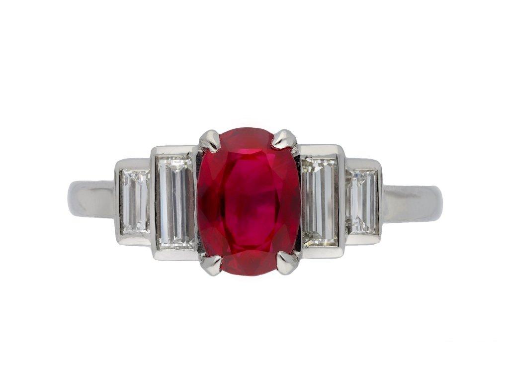 Art Deco Burmese ruby and diamond ring hatton garden