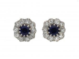 Burmese sapphire and diamond cluster earrings