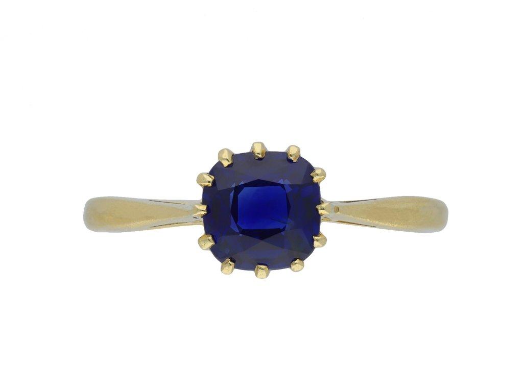 Edwardian sapphire solitaire ring hatton garden