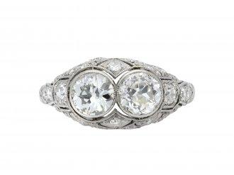 Art Deco diamond two stone cluster ring hatton garden