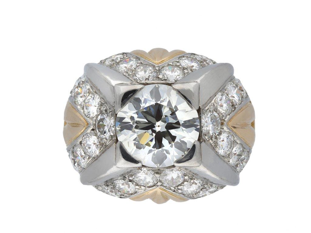 Diamond bombé cocktail ring, French, hatton garden