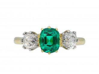 Colombian emerald diamond three stone ring hatton garden