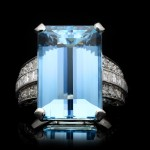 Art Deco aquamarine and diamond ring, circa 1920.