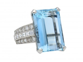 Art Deco aquamarine and diamond ring hatton garden