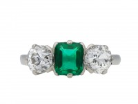 Colombian emerald and diamond three stone ring hatton garden