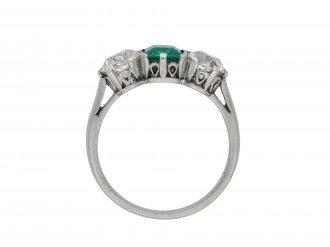 Colombian emerald and diamond three stone ring hatton garden