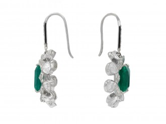 Colombian emerald and diamond earrings hatton garden