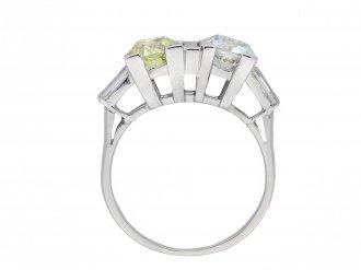 Art Deco fancy light yellow diamond two stone ring hatton garden