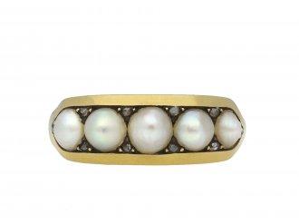 Victorian pearl five stone locket ring hatton garden