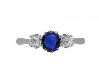 Edwardian sapphire and diamond three stone ring hatton garden