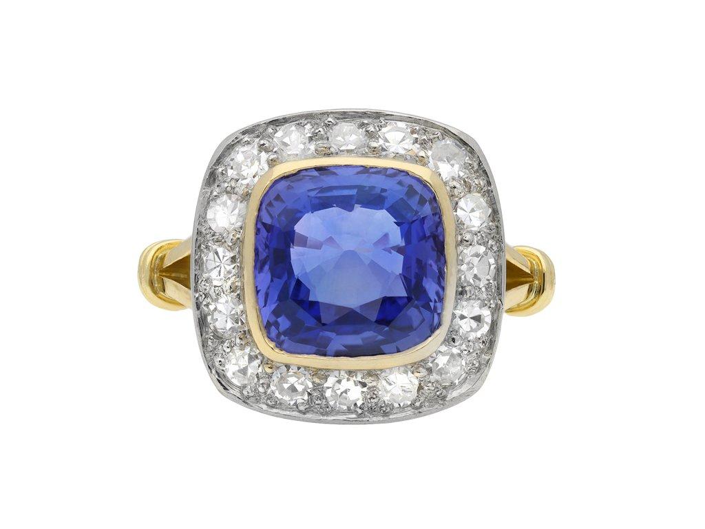 Ceylon sapphire diamond coronet cluster ring hatton garden