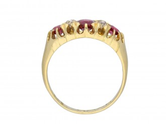 Antique ruby and diamond seven stone ring hatton garden