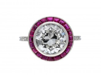 Antique diamond and ruby target ring, French 1920 hatton garden