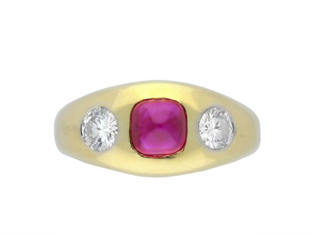 Vintage Burmese ruby diamond three stone ring hatton garden