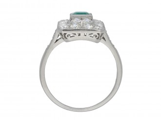 Art Deco Colombian emerald diamond cluster ring hatton garden