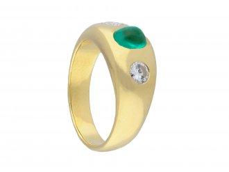 Vintage Colombian emerald diamond three stone ring hatton garden