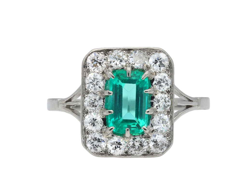 Colombian emerald and diamond cluster ring hatton garden