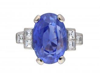 Art Deco Ceylon sapphire and diamond ring hatton garden