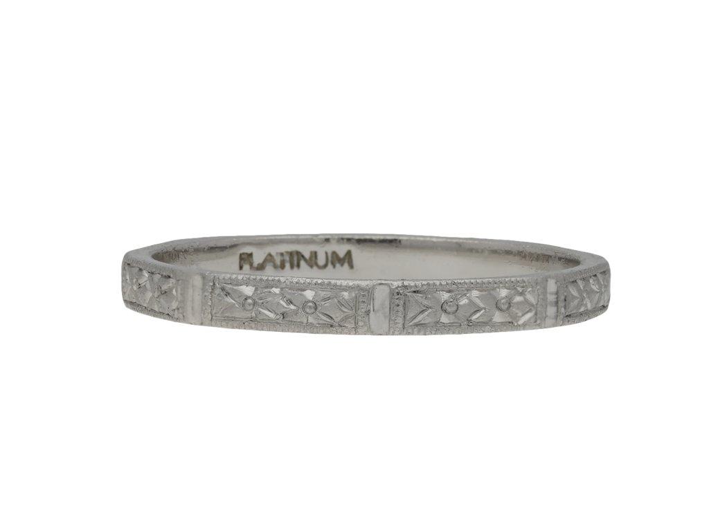 Platinum engraved wedding ring hatton garden