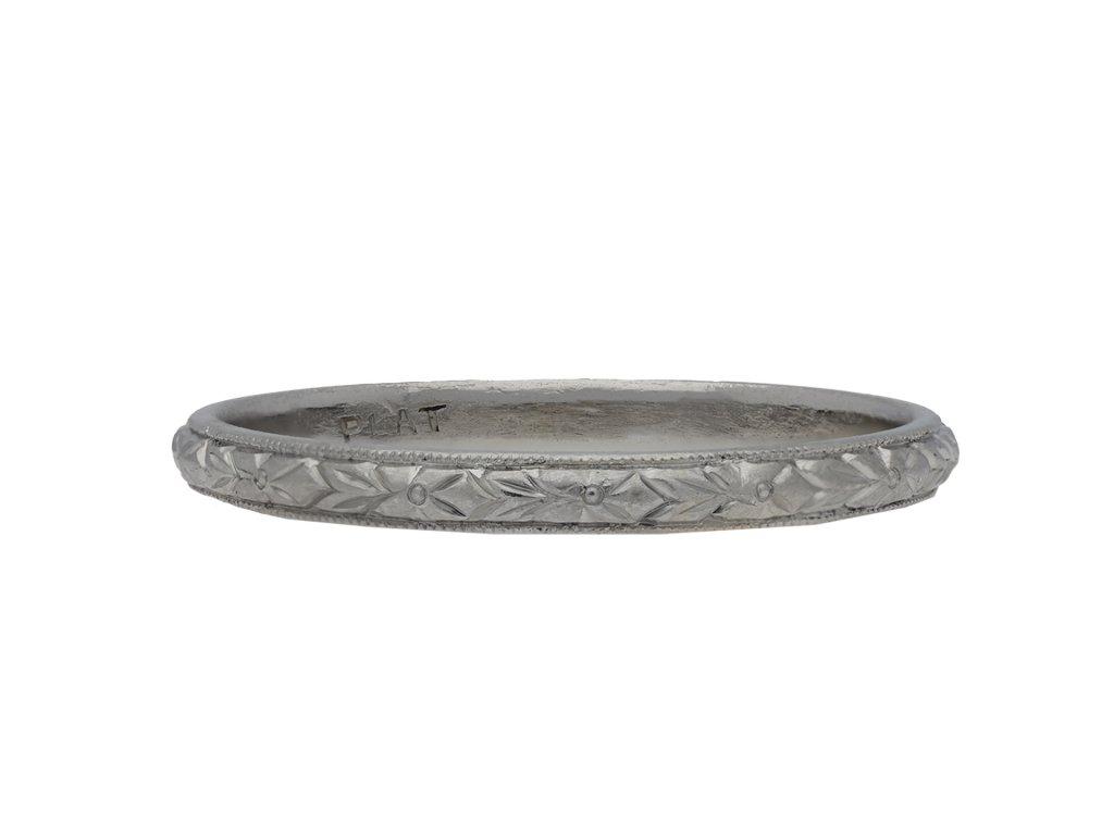Platinum engraved wedding band hatton garden