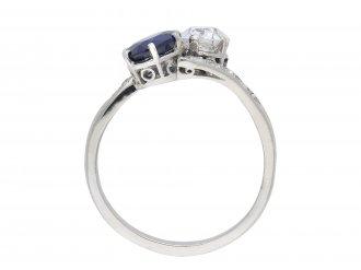 Royal Blue Burmese sapphire diamond crossover ring hatton garden