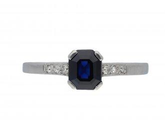 Art Deco sapphire diamond flanked solitaire ring hatton garden