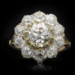 Victorian diamond coronet cluster ring, circa 1890.