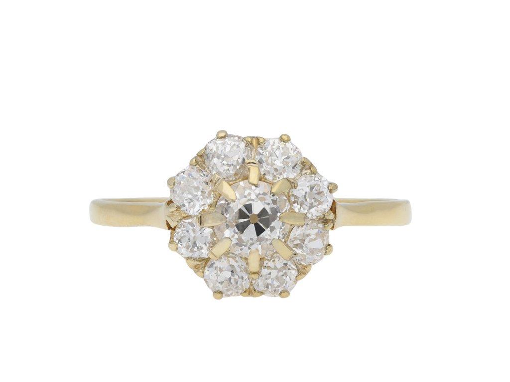 Victorian diamond coronet cluster ring hatton garden