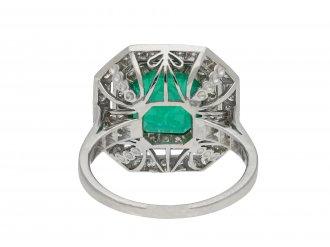 Art Deco Colombian emerald and diamond cluster ring hatton garden