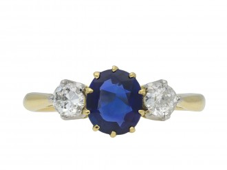 Edwardian Burmese sapphire diamond three stone ring hatton garden