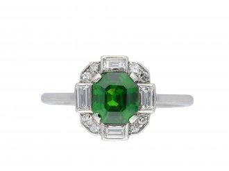 Art Deco demantoid garnet diamond cluster ring hatton garden
