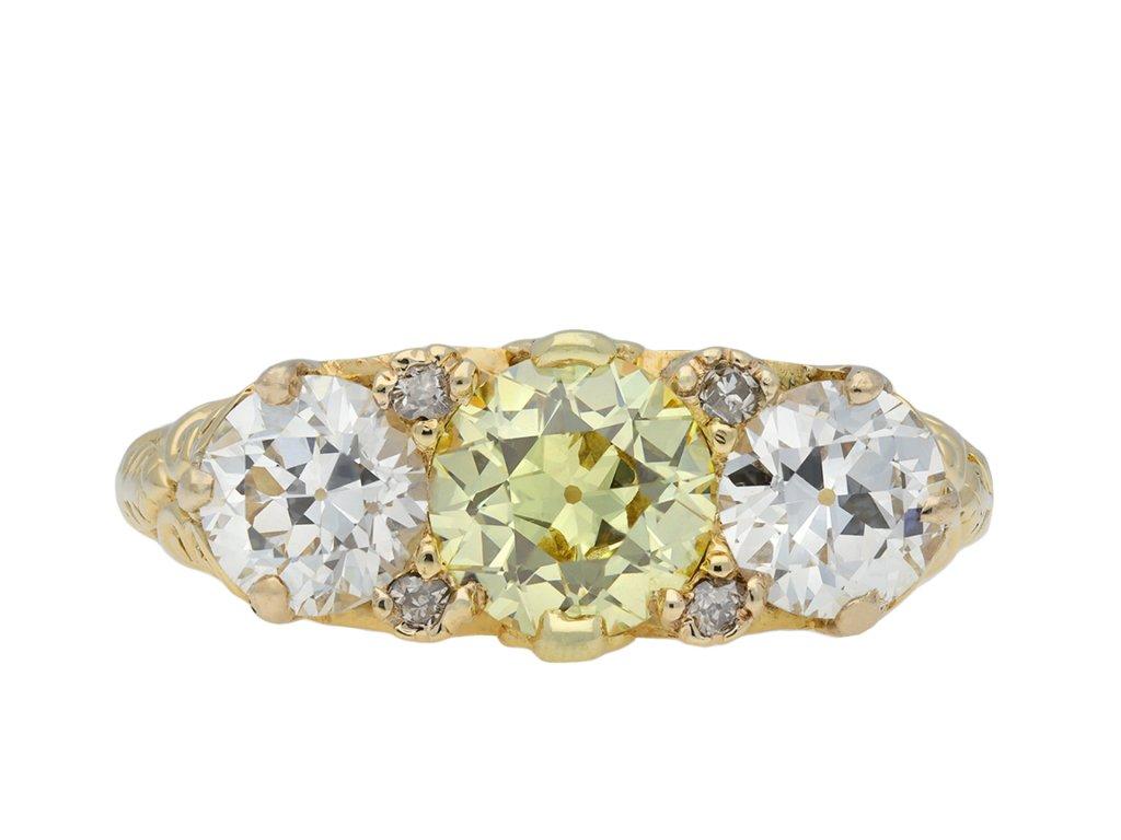 Edwardian yellow diamond three stone ring hatton garden