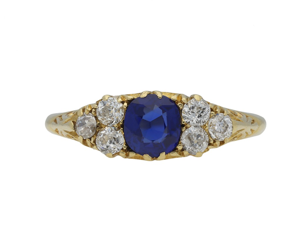 Victorian sapphire diamond seven stone ring hatton garden