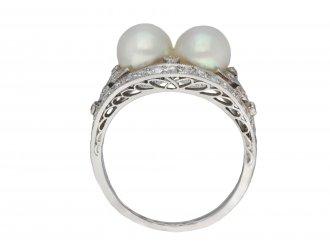 antique natural pearl diamond two stone ring hatton garden