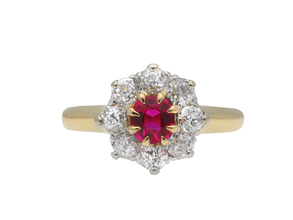 Edwardian Burmese ruby diamond coronet cluster ring hatton garden