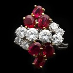 Chaumet Burmese ruby and diamond cluster ring, circa 1960.