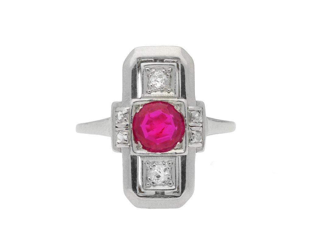 Art Deco Burmese ruby and diamond three stone ring hatton garden