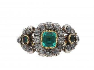 Georgian emerald and diamond cluster ring hatton garden