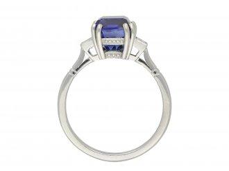 Art Deco Ceylon sapphire diamond solitaire ring hatton garden