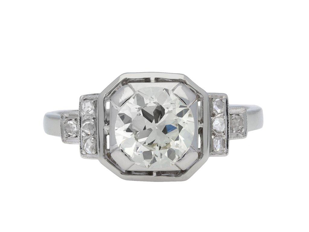Art Deco diamond flanked solitaire ring hatton garden