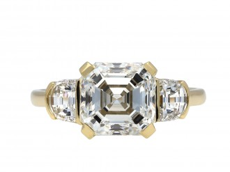 Asscher cut diamond flanked solitaire ring hatton garden